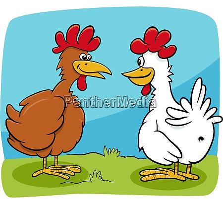 cartoon two hens farm birds characters