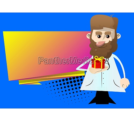 doctor holding small gift box