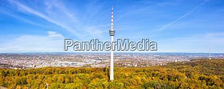 stuttgart tv tower skyline aerial photo