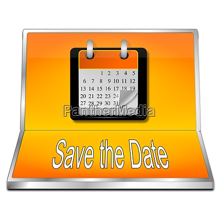 orange save the date button
