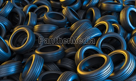 car tires conceptual background with yellow