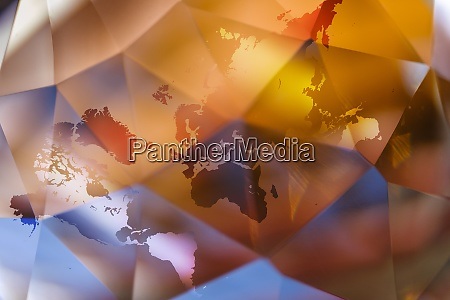 world map on abstract colorful background