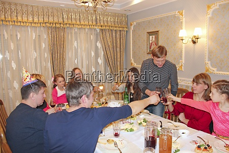 gathered relatives in luxury restaurant have