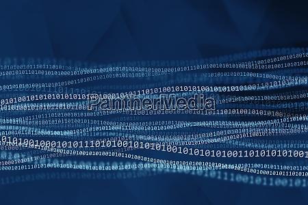 binary code on blue background