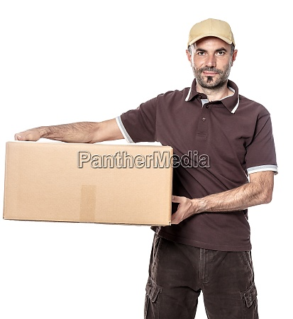 worker man courier shipping with hat