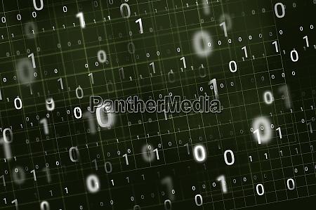 binary code on green background