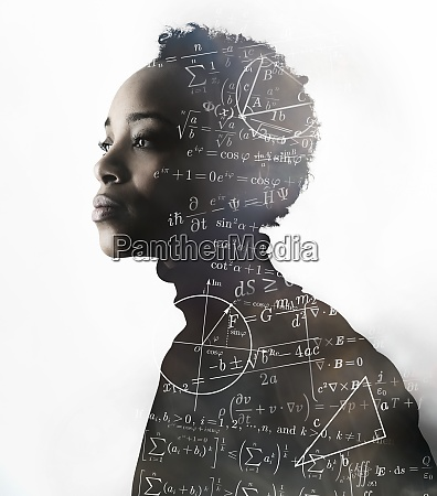 silhouette of woman covered with mathematical