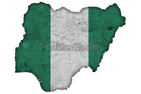 map and flag of nigeria on