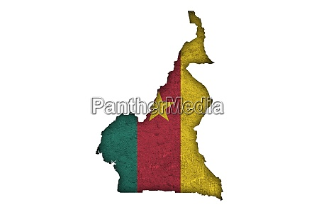 map and flag of cameroon on