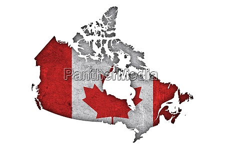 map and flag of canada on