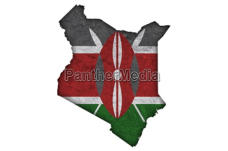 map and flag of kenya on