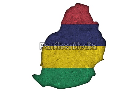 map and flag of mauritius on