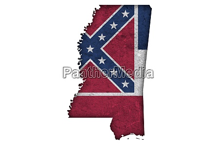 map and flag of mississippi on