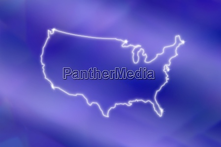 outline of usa on blue background