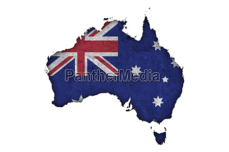 map and flag of australia on