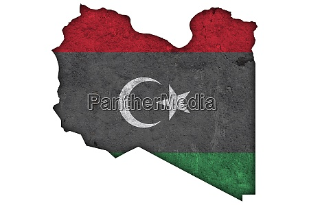 map and flag of libya on