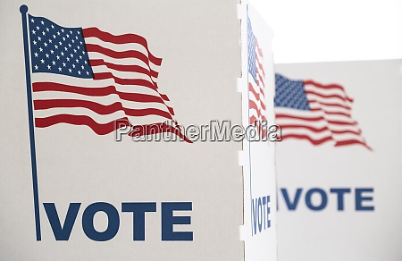 voting booth with us flag
