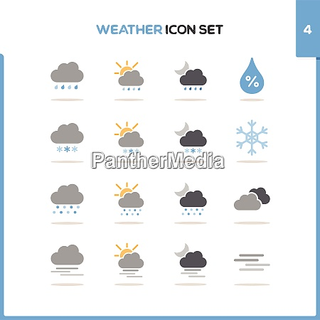 weather, icon, set., color, icon, set - 29033369