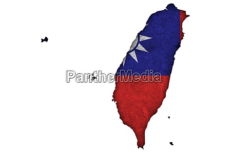 map and flag of taiwan on