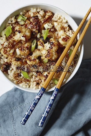 vegetarian meal in bowl with chopsticks