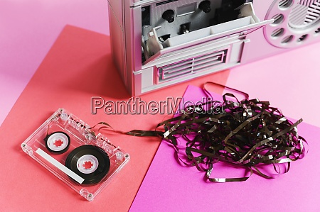 damaged audio tape and tape player