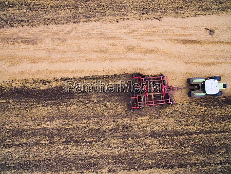 harvesting in the field aerial view