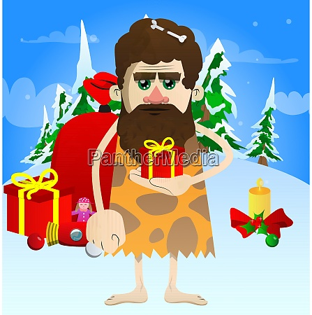 caveman holding small gift box