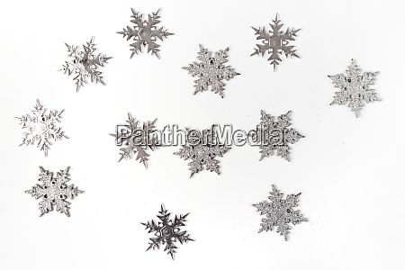 silver color christmas snowflakes isolated on