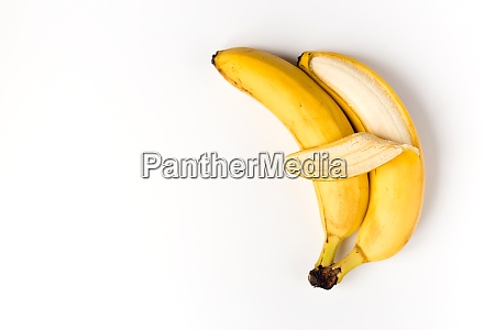 sleeping and hugging banana couple isolated