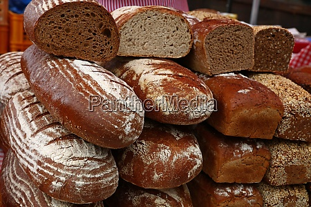assorted fresh bread loaves on retail
