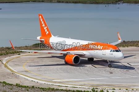 easyjet airbus a320neo airplane corfu airport