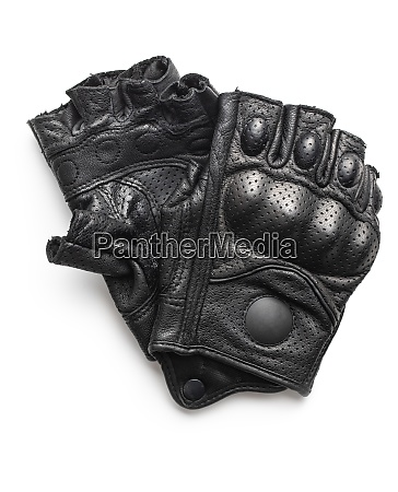 black motorcycle leather half finger gloves