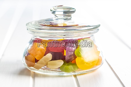 colorful fruity jelly candies in jar