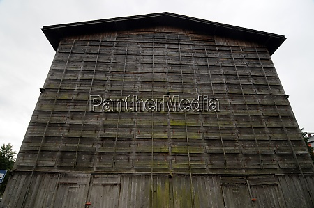 obsolete and abandoned industrial timber warehouse