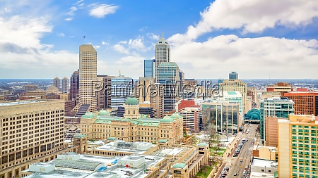 downtown indianapolis skyline with blue sky