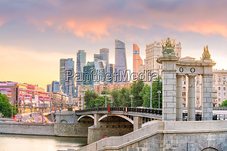 moscow city skyline business district in