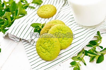 cookies mint with napkin on light