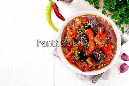 ragout vegetable with eggplant on board
