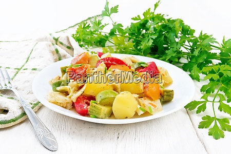 ragout vegetable with zucchini on board