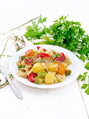 ragout vegetable with zucchini on white