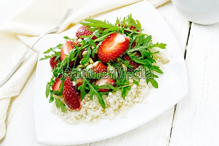 salad of strawberry and couscous on