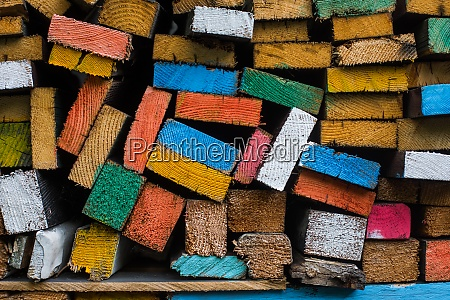 wood planks painted in various colors