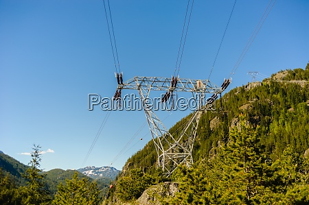 power lines and tower passing through