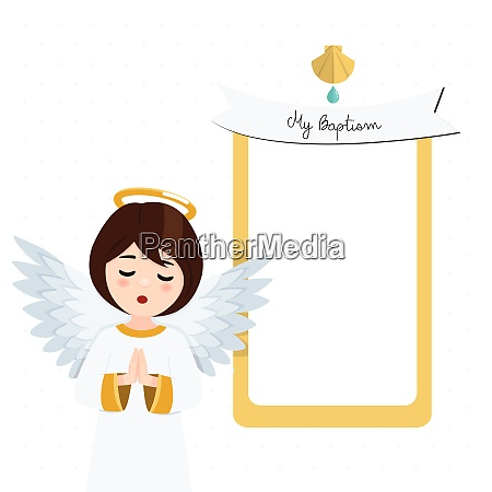 foreground praying angel baptism invitation with