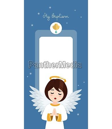 praying angel baptism vertical invitation on