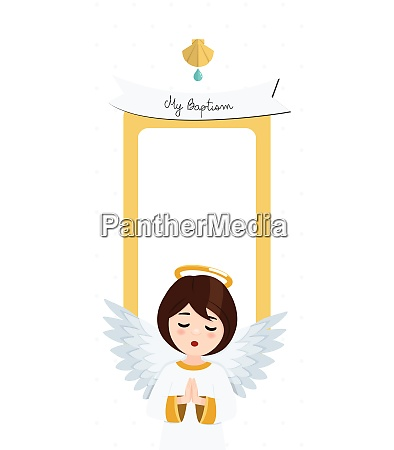 praying angel baptism vertical invitation with