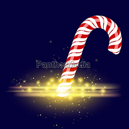 sweet striped candy cane on blue