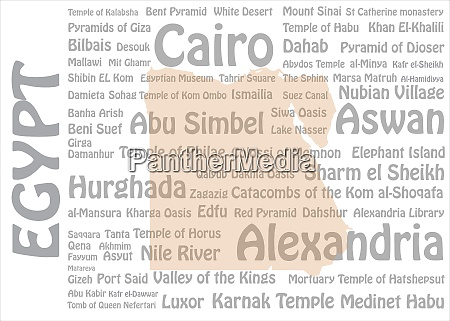 egypt cities and landmarks template vector