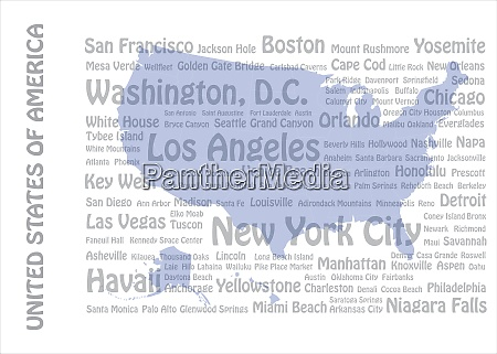 usa cities and landmarks template vector