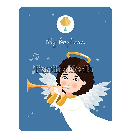 foreground angel playing the trumpet my